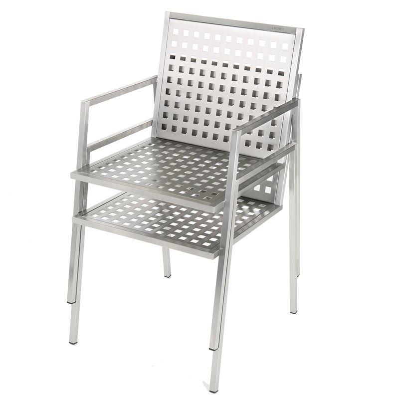 Edler Designer-Stuhl für den Garten aus Edelstahl im zeitlosen Design von Lizzy Heinen.