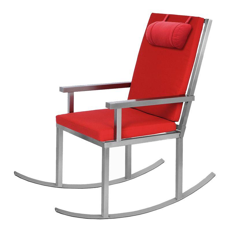 Bequemer Edelstahl-Schaukelstuhl im Bauhausdesign von Lizzy Heinen für den Garten oder die Terrasse.