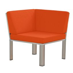 Stilvolles Designer-Sessel-Eckstück für den Garten aus Edelstahl in zeitlosem Design von Lizzy Heinen.