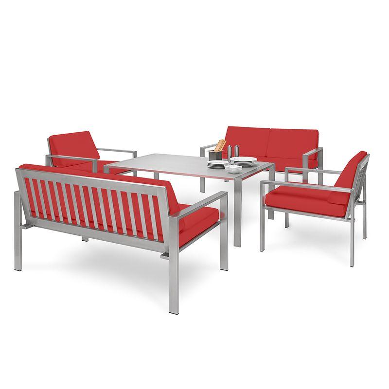 Schicke Edelstahl-Sitzgruppe von Lizzy Heinen für Lounge oder Garten