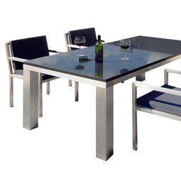 Gemütlicher Edelstahl Esstisch und Konferenztisch von Lizzy Heinen im Bauhausstil. Gemütlich: