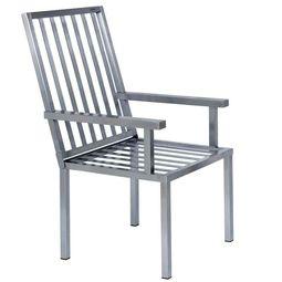 Bequemer Edelstahlstuhl im Bauhausdesign von Lizzy Heinen für den Garten oder die Terrasse.