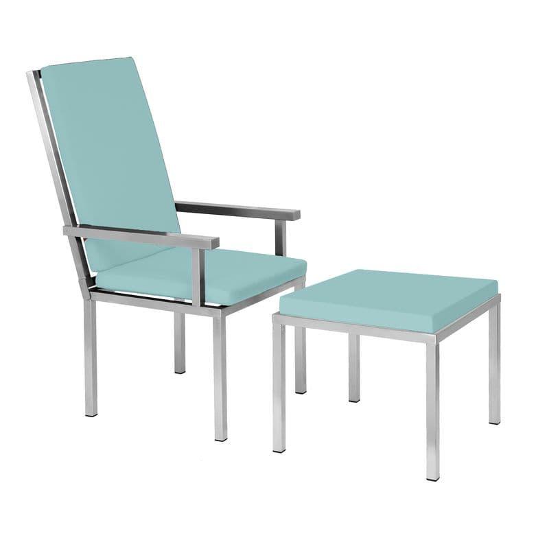 Bequemer Edelstahl-Lehnstuhl im Bauhausdesign von Lizzy Heinen für den Garten oder die Terrasse.