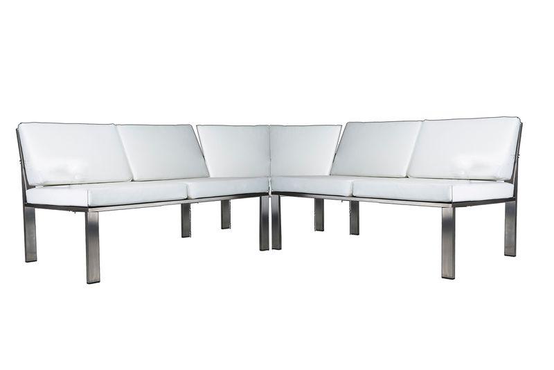 Edle Lounge-Ecke aus Edelstahl im Bauhausstil von Lizzy Heinen.