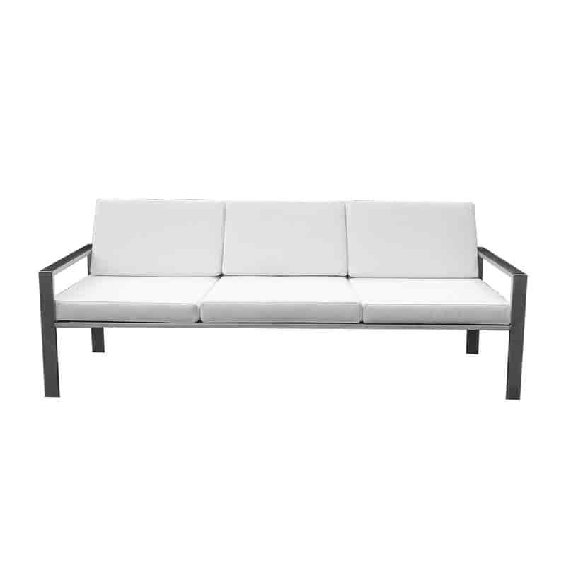 Edles Designer-Sofa für den Garten aus Edelstahl im zeitlosen Design von Lizzy Heinen.