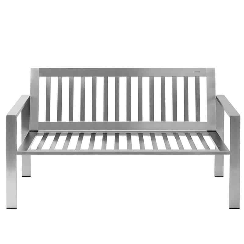 Wetterfestes Designer-Sofa für den Garten aus Edelstahl im zeitlosen Design von Lizzy Heinen.