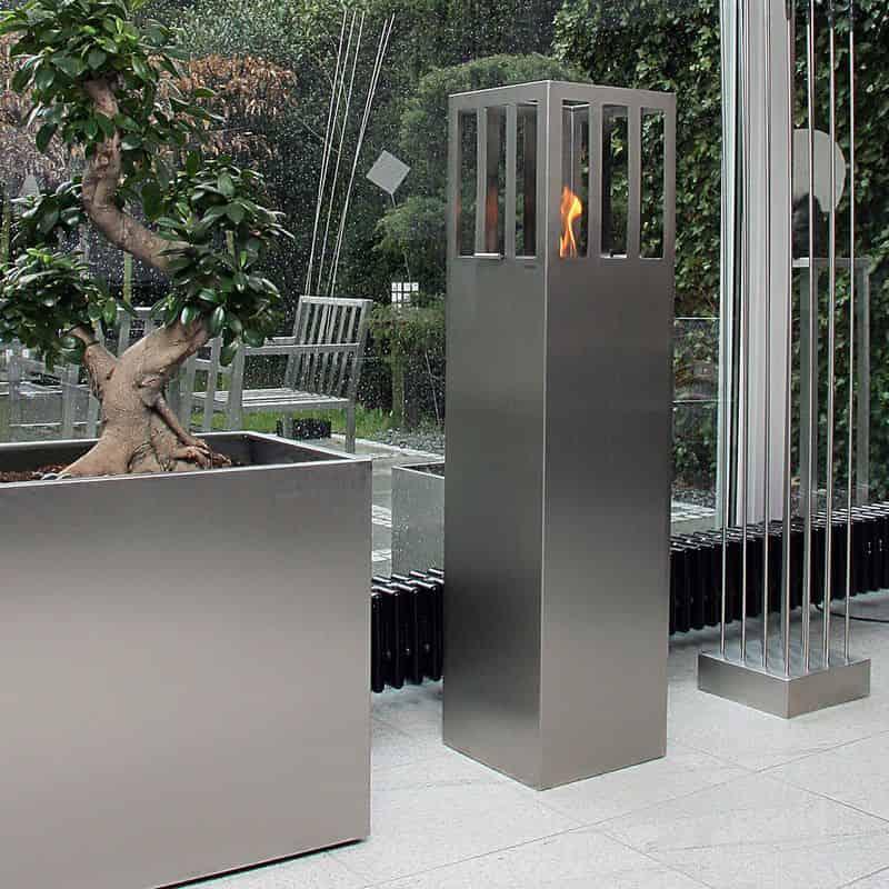 Design Feuersäule aus Edelstahl für den Innenbereich