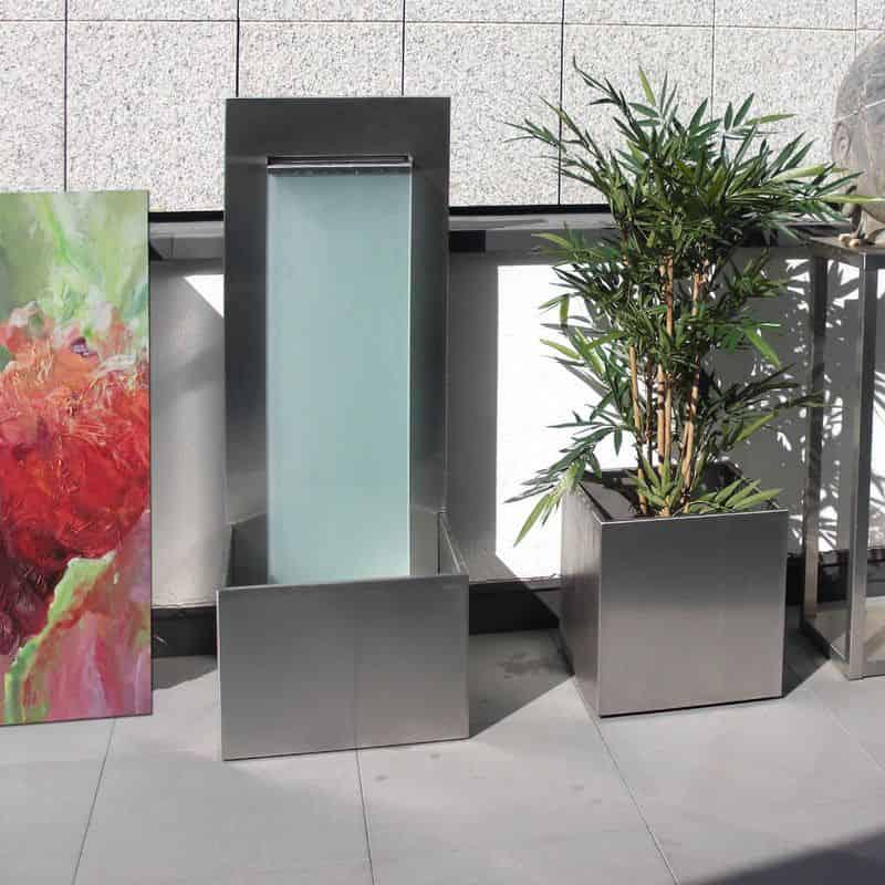 Design Brunnen aus Edelstahl für den Innenbereich